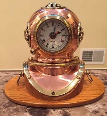 BRASS & COPPER SCUBA DIVING HELMET QUARTZ SHIP'S CLOCK on Solid Oak Base