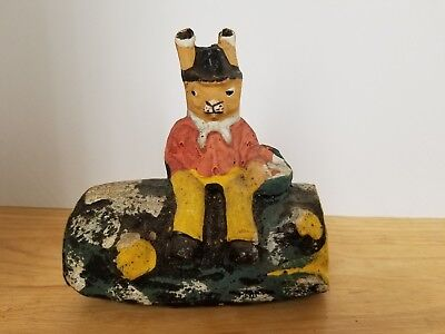 Vintage paper mache bunny/rabbit sitting on log with Easter basket