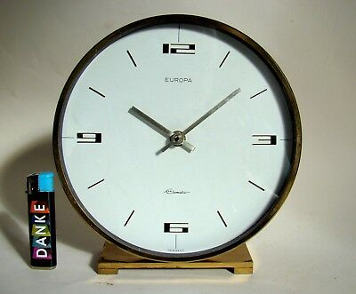EUROPA ELOMATIC XL Tischuhr Messing midcentury clock Space Age 60er TOP & RARE