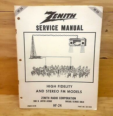 Service Manual Zenith High Fidelity And Stereo FM Models HF-24 58 pages