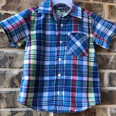 Dress shirt  Boys Toddler Button Down blue plaid  Children's Place size 2T