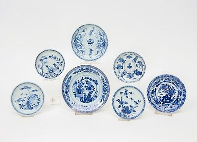 7 CHINESE BLUE & WHITE EXPORT PORCELAIN SAUCERS KANGXI QIANLONG 18th Century