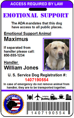 Emotional Support Animal ADA Card, Service Animal PVC Plastic Id Tag