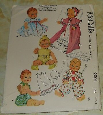 1955 McCall's Doll Clothes Pattern 2001~Tiny Tears/Dydee/Kathy/Betsy Wetsy~13-14