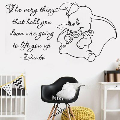 Cute Dumbo Quote (Black) Wall Stickers Kids Room Art Vinyl Mural Quality