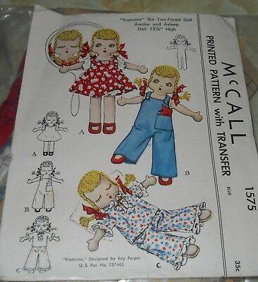 1950 McCall Pattern 1575~Francine~Two Faced Doll/Awake & Asleep~13 1/2""
