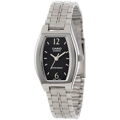 Casio Women's Quartz Black Dial Silver-Tone Bracelet 22Mm Watch Ltp1254d-1A