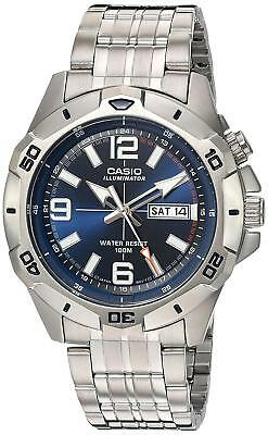 Casio Men's Quartz Super Illuminator Silver-Tone Bracelet 45mm Watch MTD1082D-2A