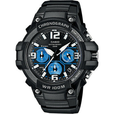 Casio Men's Quartz Chronograph Black Resin Band 45 Mm Watch Mcw100h-1A2v