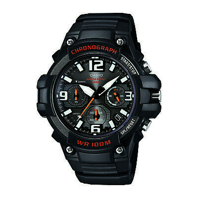 Casio Men's Quartz Chronograph Black Resin 49.5Mm Watch Mcw100h-1Av