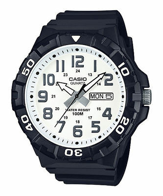 Casio Men's Quartz White Dial Rotating Bezel Black Resin 50mm Watch MRW210H-7AV