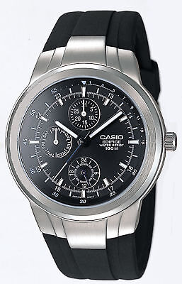 Casio Edifice Men's Quartz Multi-Function Black Rubber Band 41Mm Watch Ef305-1Av