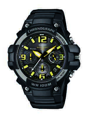 Casio Men's Quartz Chronograph Yellow Accent Black Resin 49Mm Watch Mcw100h-9Av