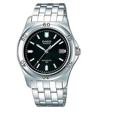 Casio Men's Quartz Black Date Dial Silver-Tone Bracelet 37Mm Watch Mtp1213a-1Av