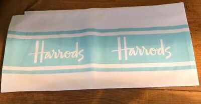 Authentic Harrods Tea Dish Kitchen Towel White With Light Turquoise Strips.