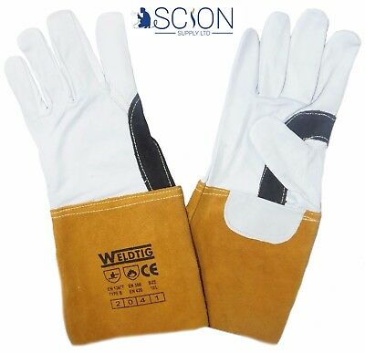 Gold TIG Welding Leather Gauntlets / Gloves - Kevlar Stitched Premium Reinforced
