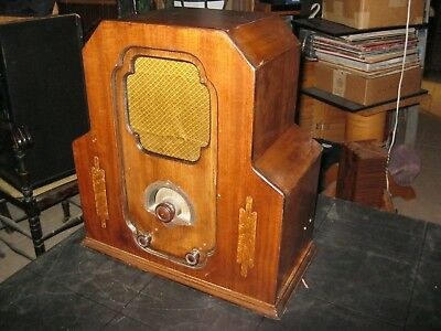 Edison Bell Canadian Deco Wooden Tube Antique Tombstone Radio for Restoration