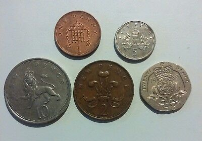 GB (UK, England) 5 different coins lot 1971 – 1994