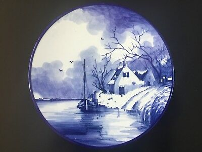 Delft Blue & White Decorative Plate of boat and house vintage