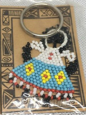 One Vintage Treasures From Africa Beaded Key Chain Fob By Zulu Women