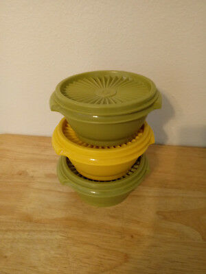 Three Vintage Tupperware Servalier Bowls Green and Yellow