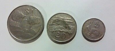 Zimbabwe 3 different coins lot 1 dollar + 20 Cents + 5 Cents