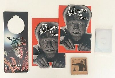 Lot of Vintage Universal Monsters Wolfman items. Halloween Topps Flipbook, Cards