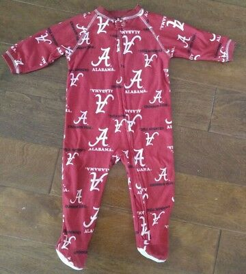 Baby Alabama Crimson Tide Zip-up Coverall Footie Sleeper Pajamas 12 Months