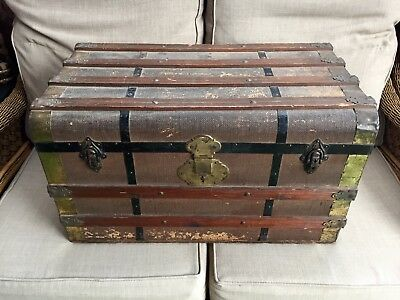 Antique dome top Storage Wood chest trunk Metal handles old