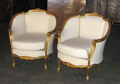 A Pair of Ornately French Gilded Bergere Chairs/Bench