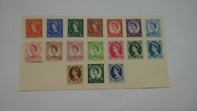 Gb Stamps Qe11 1957 Wildings Mounted On Card Mint Set