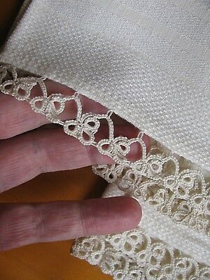 Antique DAMASK Huck LINEN Clover TATTED LACE TOWEL LOT Pair 2 Vintage