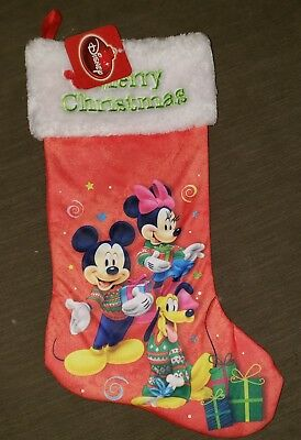 Disney Mickey Mouse Minnie Mouse and Pluto Christmas Stocking NWT