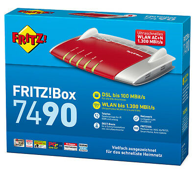 AVM FRITZ!Box 7490 VDSL/ADSL WLAN AC Router Modem 1300 Mbit DECT Media Server