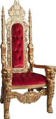 Throne wooden and fabric red damasked ROYAL BAROQUE 180 cm