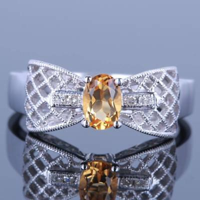 Oval 6x4mm Citrine 10K White Gold Real Diamonds Fine Wedding Nice Filigree Ring