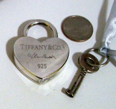 Tiffany & Co. Sterling Silver 925 Large Heart & Key Pendant Padlock with Key