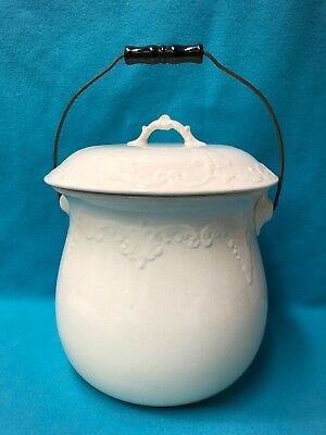 Gorgeous Lg White Antique IRONSTONE Chamber Pot w/ Wire & Wood Handle w/ History