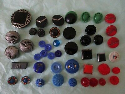 Vintage art deco black blue red green silver luster glass button lot