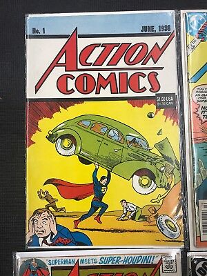 Action Comics 1 , 393 , 524 & 600 Good To Vg Superman Lot Of 4 Bagged & Boarded