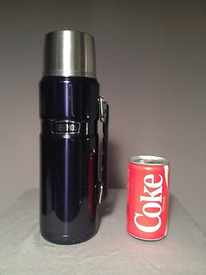 Thermos Stainless steel 40 oz King thermal beverage bottle VG cond Midnight blue