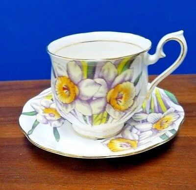 ROYAL ALBERT china FLOWER OF THE MONTH pattern #3 daffodil cup and saucer