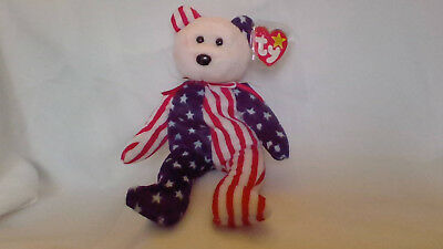 Spangle Patriotic Red White and Blue Retired Ty Beanie Baby Bear Pink Face MWMT