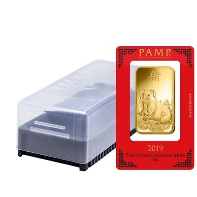 Box of 25 - 100 gram PAMP Suisse Year of the Pig Gold Bar (In Assay)