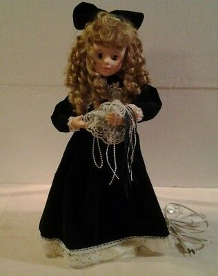 """1996 Motion-ette electric animated 24"""" tall Christmas Doll blond hair - MINT"""