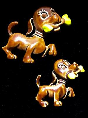 PAIR OF Figural Puppy Dog with Bone Brown White Yellow Enamel Scatter BROOCH Pin