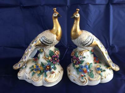 Stunning Pair Of Antique French Paris Porcelain Hand Painted Peacock Figurines.