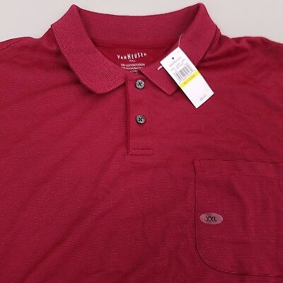 20adc1276 Van Heusen Men's Polo Shirt Size 2XL XXL Short Sleeve Striped Red NEW