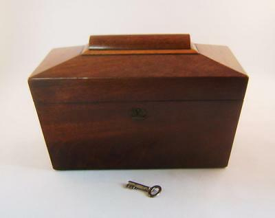 Antique Mahogany Tea Caddy Box : Coffin Shape with original  internal lids