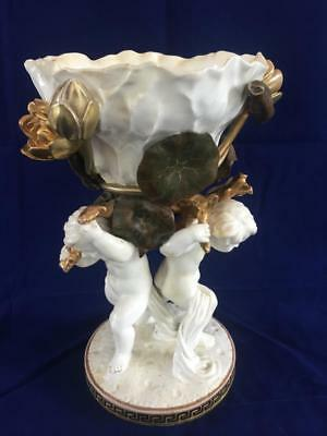 Stunning Antique Moore Bros. Porcelain Two Cherub Comport / Centrepiece. C1890.